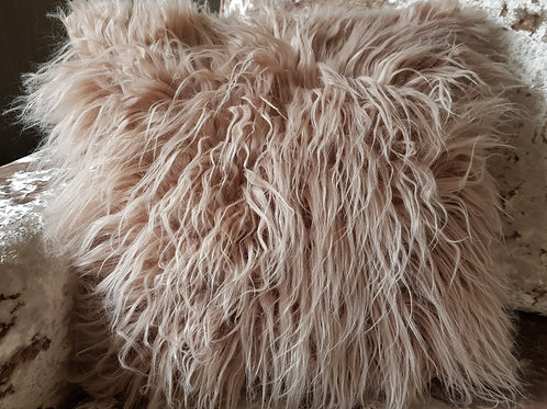 long Shaggy faux fur cushions or covers BEIGE