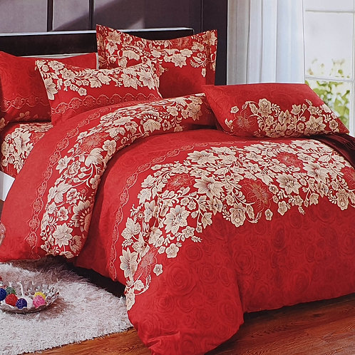 Duvet Cover set 90 GSM quality Double King size Flowers Trails Red