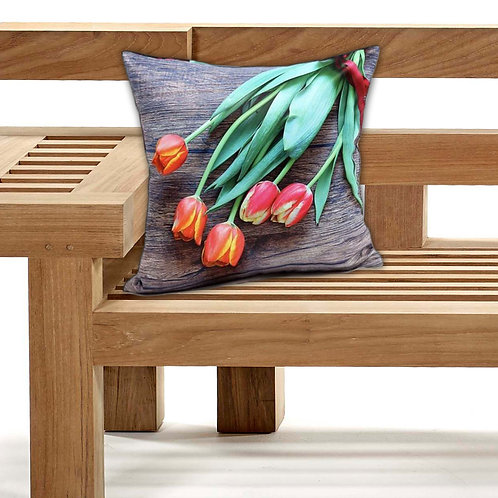 Outdoor Cushions Waterproof Canvas FILLED Cushions Tulip red