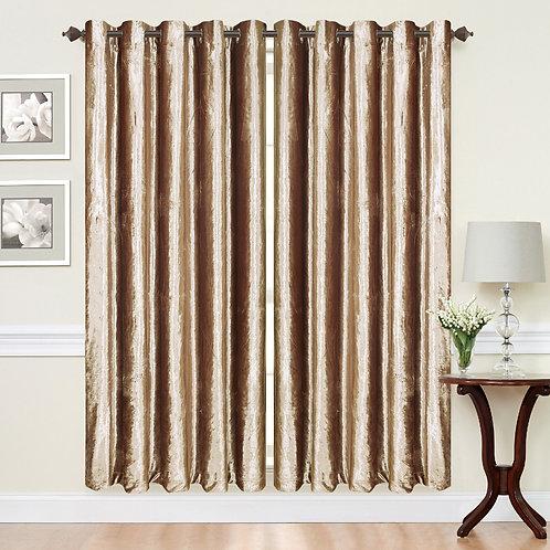 Crush Velvet ring top eyelet lined curtains Beige Latte