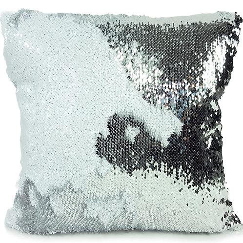 Magic sequin mermaid reversible two tone glitter home car sofa cushion or cover white silver