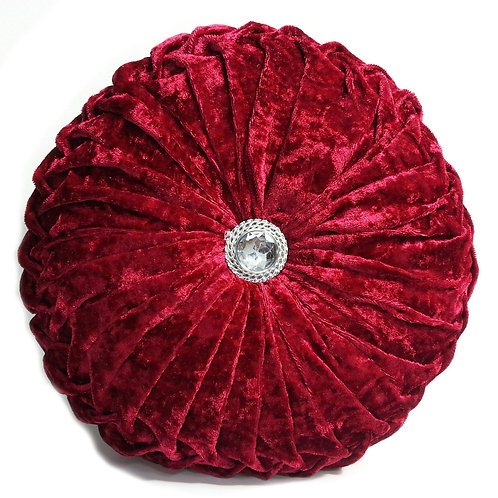 Crush velvet Round Diamante filled cushionsDarkRED
