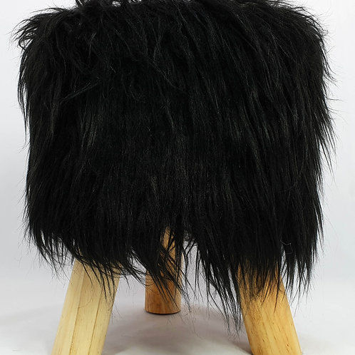 Shaggy Faux Fur Foot stool Bench Ottoman Padded Wooden stool ROUND black