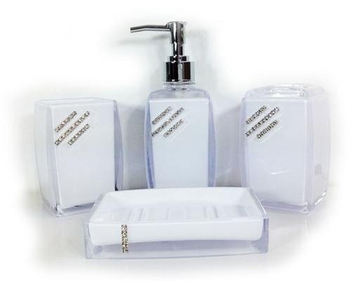 Diamante Bathroom Accessories Set Square White