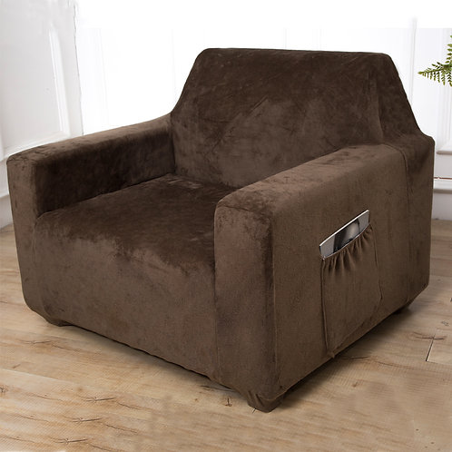 Plush Velvet Fit Stretch Protector Soft Couch Sofa Cover With Tuckers CHOCOLATE