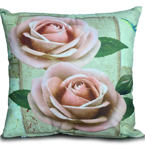 "Soft Velvet Effect Cushions or Covers FLORAL 17""X17"" Twin Roses Pink"