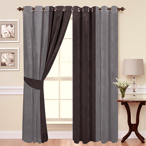 Ring Top Eyelet Fully Lined curtains ITALY Plush Velvet 2 tone SILVER