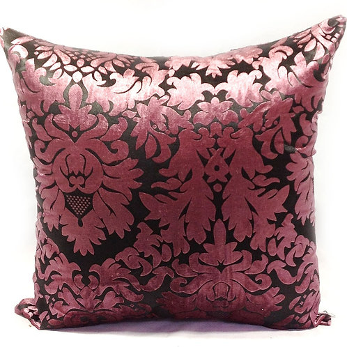 "Large Velvet Damask Cushions 22""x 22"" Pink, Red"