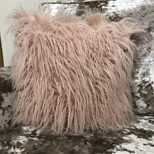 long Shaggy faux fur cushions or covers LIGHT PEACH