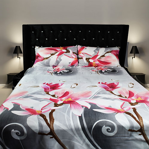 Daisy Grey pink 3D Duvet cover set Double King Size