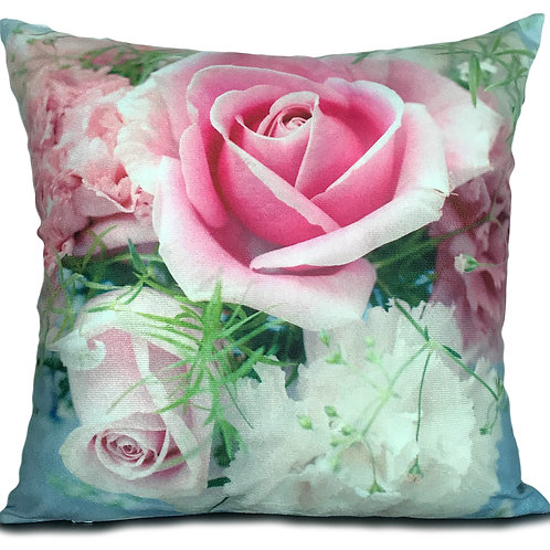 "Soft Velvet Effect Cushions or Covers FLORAL 17""X17"" SINGLE ROSE PINK"