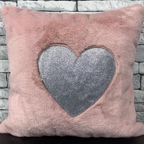 "Super Soft Cuddly faux fur Silver Glitter Heart 17x17"" cushions PINK"