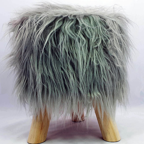 Shaggy Faux Fur Foot stool Ottoman Padded Wooden stool ROUND GREY