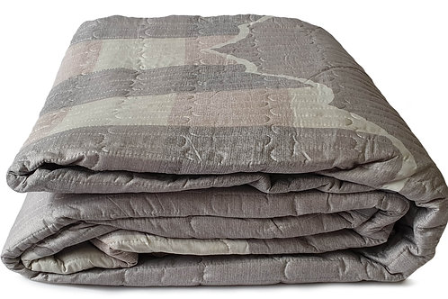 3 Piece Quilted Bedspread Throw Comforter Set Checks SILVER Double King