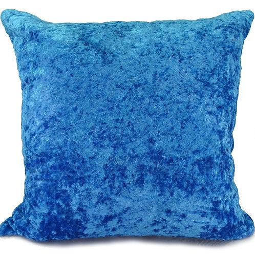 Plain Crush Velvet Cushions Turquoise Blue