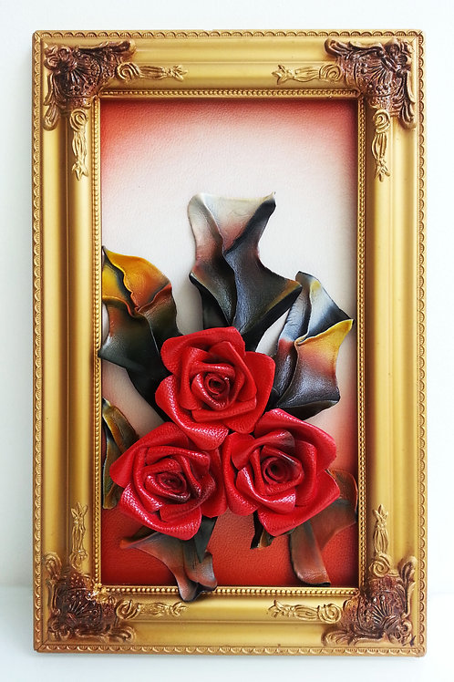 Leather Flowers Wall Picture Frame Red