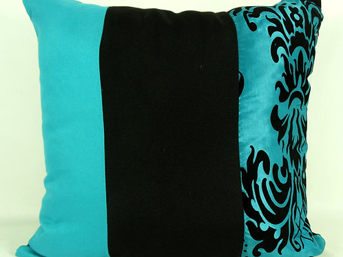Three Tone Damask Cushions- Teal Reversible