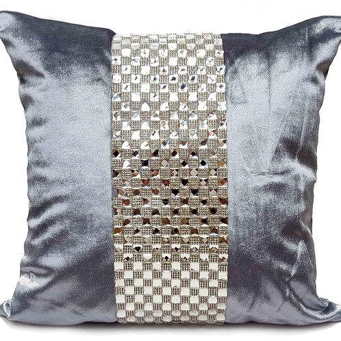 Designer cushions velvet Square diamante Silver