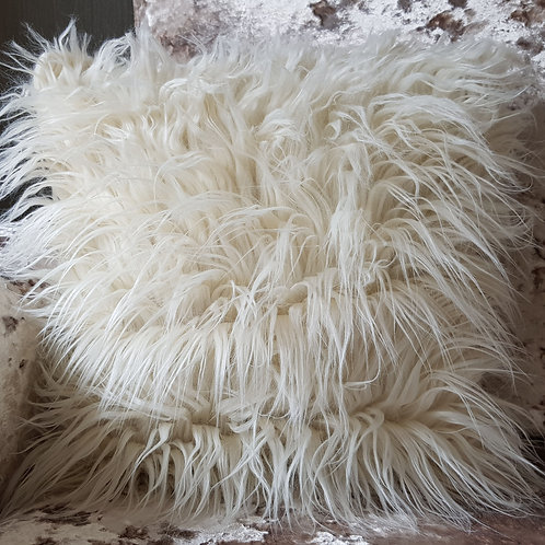 long Shaggy faux fur cushions or covers CREAM
