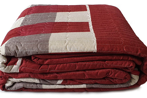 3 Piece Quilted Bedspread Throw Comforter Set Checks RED Double King