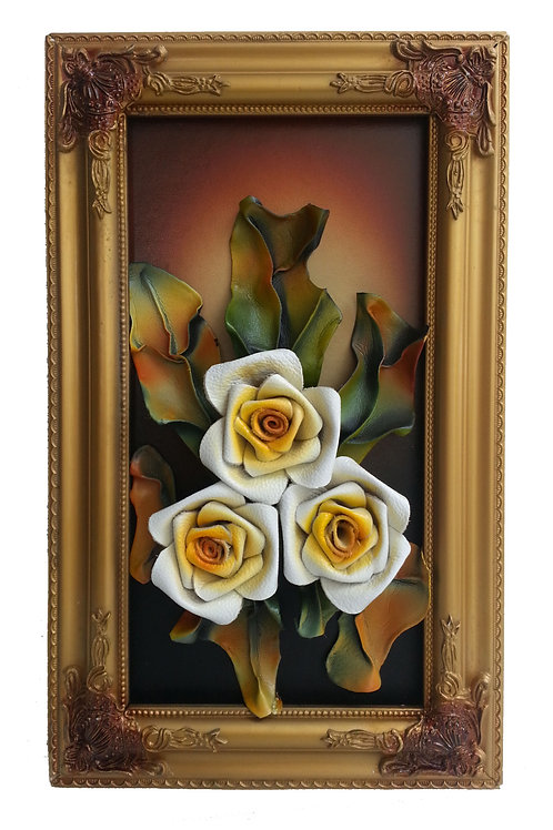 Leather Flowers Wall Picture Frame Cream