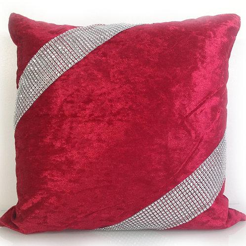 Crush velvet Cross Lace Diamante cushions-Red