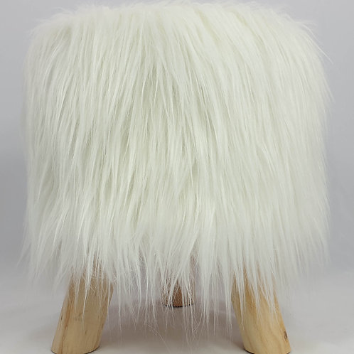 Shaggy Faux Fur Foot stool Ottoman Padded Wooden stool ROUND WHITE