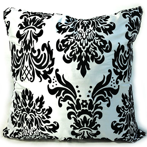 "Flock Damask cushions B&W,17""x 17"",21""x 21"",23""x 23"""
