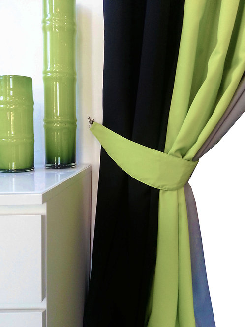 plain tie backs for 3 tone curtains Green