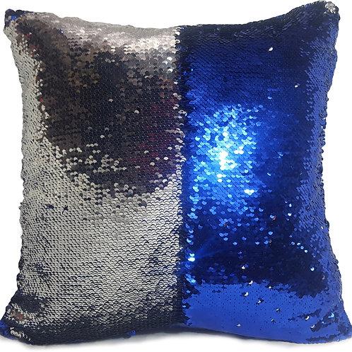 Magic sequin mermaid reversible two tone glitter home car sofa cushion or cover Royal blue