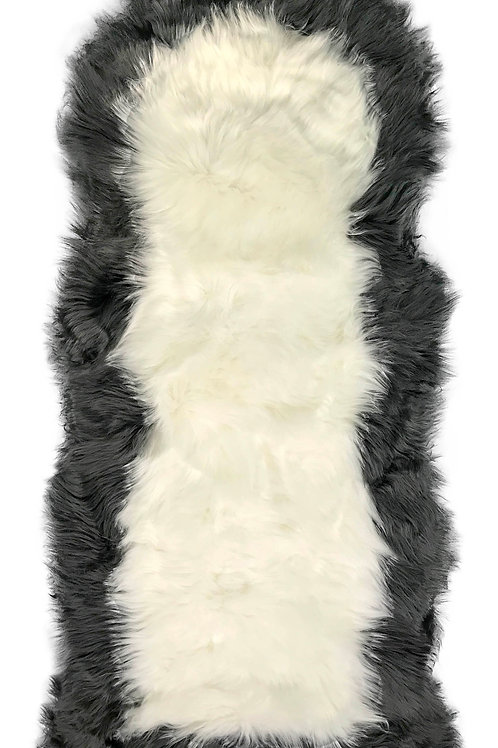 Soft Fluffy PLAIN Faux Fur 2 tone Rugs 60cm X 130cm White_Grey