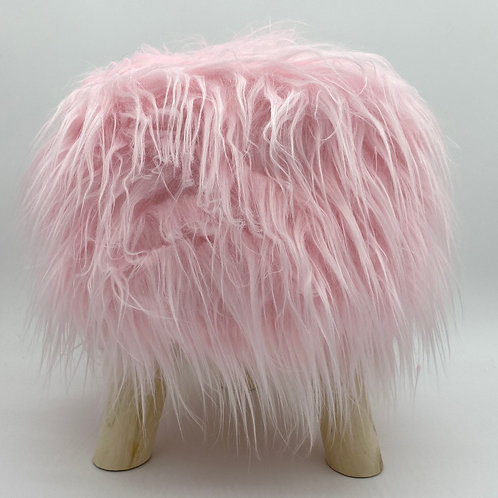 Shaggy Faux Fur Foot stool Bench Ottoman Padded Wooden stool ROUND PINK