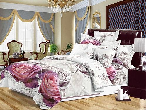 3D Duvet set,80 GSM ,Mauve/Silver roses Double Kingsize
