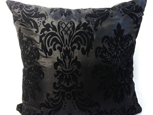 "Flock Damask cushions Black,17""x 17"",21""x 21"",23""x 23"""