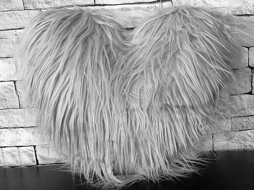 Love HEART SHAPED long Shaggy faux fur Filled cushions SILVER