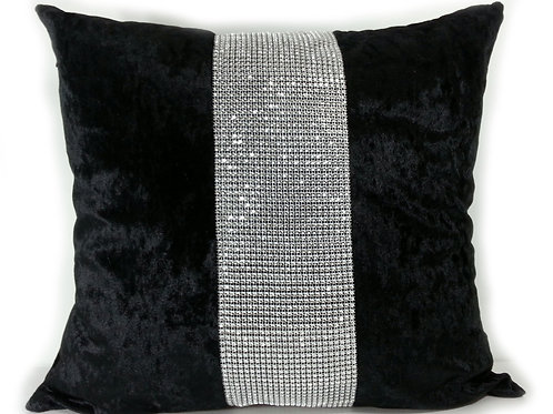 Large Cushions diamante Lace crush velvet -Black