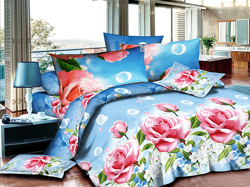 3D Duvet set,55 gsm Roses Pink-Blue Double or King size