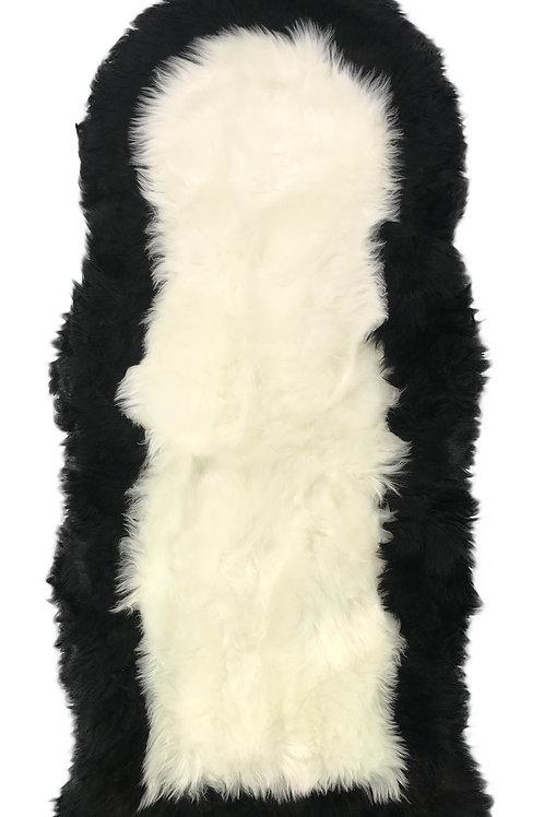 Soft Fluffy PLAIN Faux Fur 2 tone Rugs 60cm X 130cm White_Black