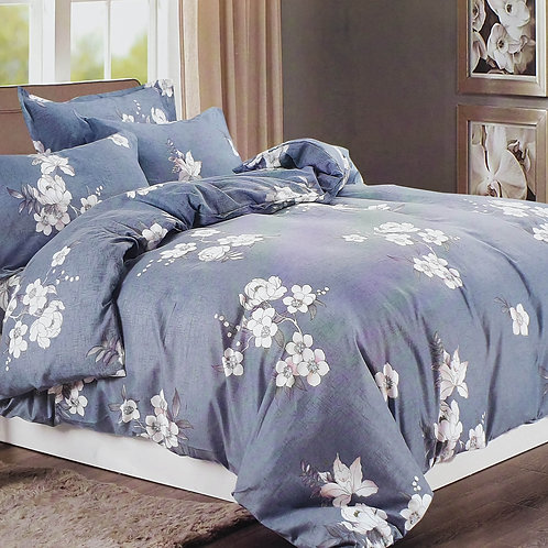 Duvet Cover set 90 GSM quality Double King size Daisy GREY