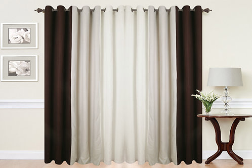 Three Tone Eyelet Ring Top Curtains Brown