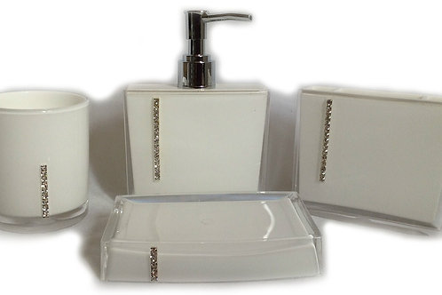 Diamante Bathroom Accessories Set White