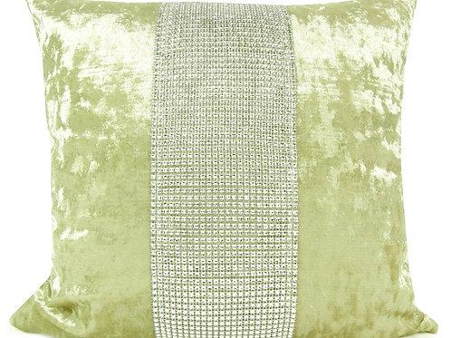 Large Cushions diamante Lace crush velvet Cream