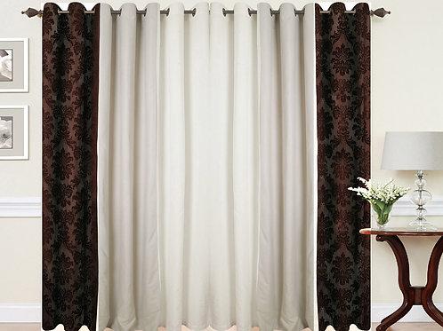 Three tone Damask Eyelet curtains Brown