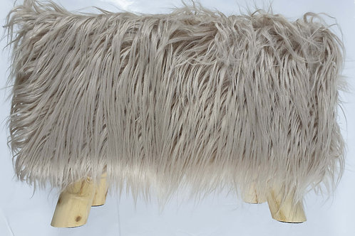 Shaggy Faux Fur Foot stool Ottoman Padded Wooden stool Rectangle BEIGE
