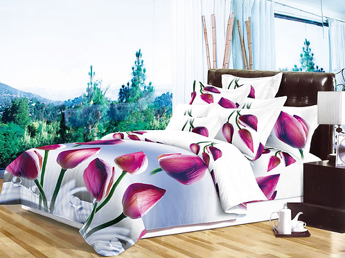 Tulip Purple 3D Duvet Cover Set Double ,Kingsize