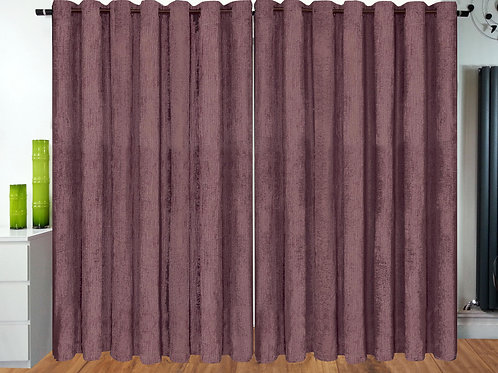 Plain Chenille ring top eyelet curtains Mauve