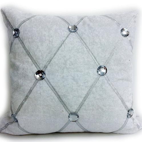 Crush velvet Chesterfield Diamanté cushions-White