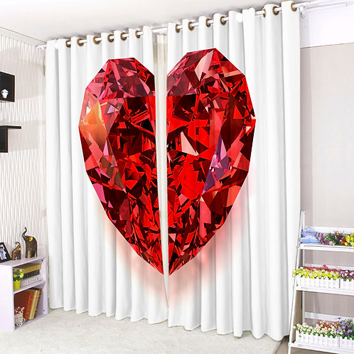 Pair of Eyelet Ring Top Curtains 3D Diamond Heart
