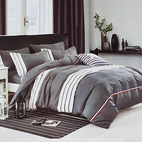Duvet Cover set 90 GSM quality Double King size Stripe Blue Red Grey