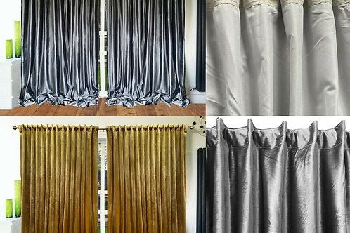 Curtains ROD Pocket Back Tab Tape Top Ready Made Lined Velour Plush Velvet